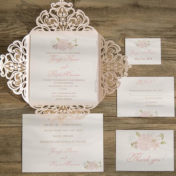 Blush Pink Floral Laser Cut Spring Wedding Invites EWWS077
