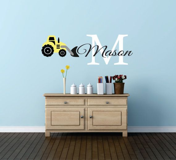 construction name tractor wall decal, tractor wall decal
