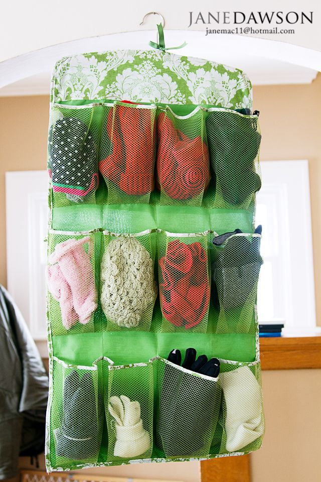Use A Hanging Shoe Organizer To Keep Hats Mittens And