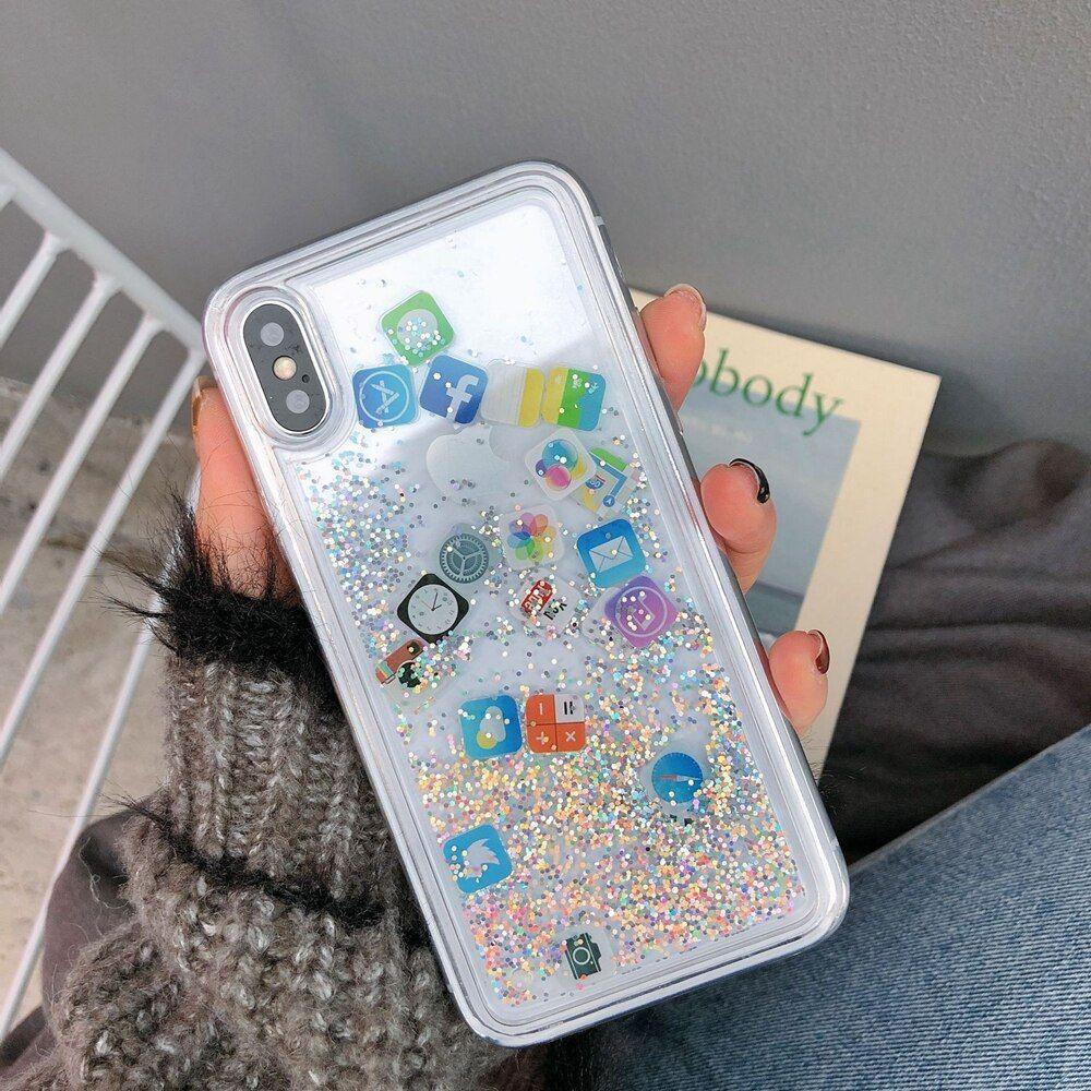 2020 的 Glitter Liquid Quicksand Phone Iphone X 8 7 6 6S