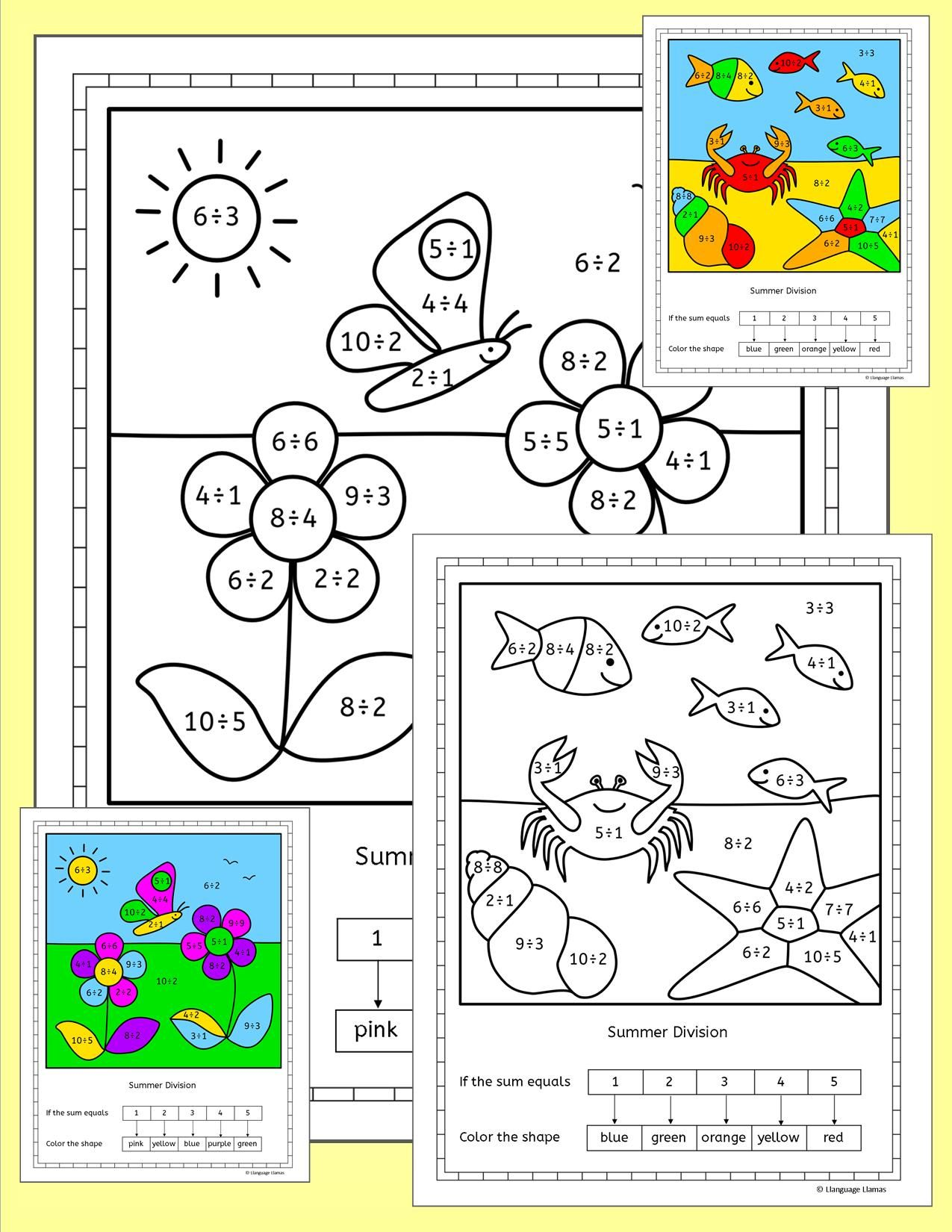 Division Worksheets Summer Theme No Prep Pinterest Division