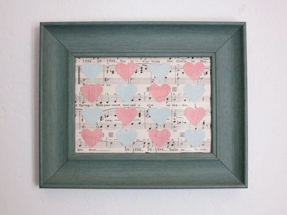 Upcycled Sheet Music Art With Hearts by SimpleDevotion on Etsy, $25.00