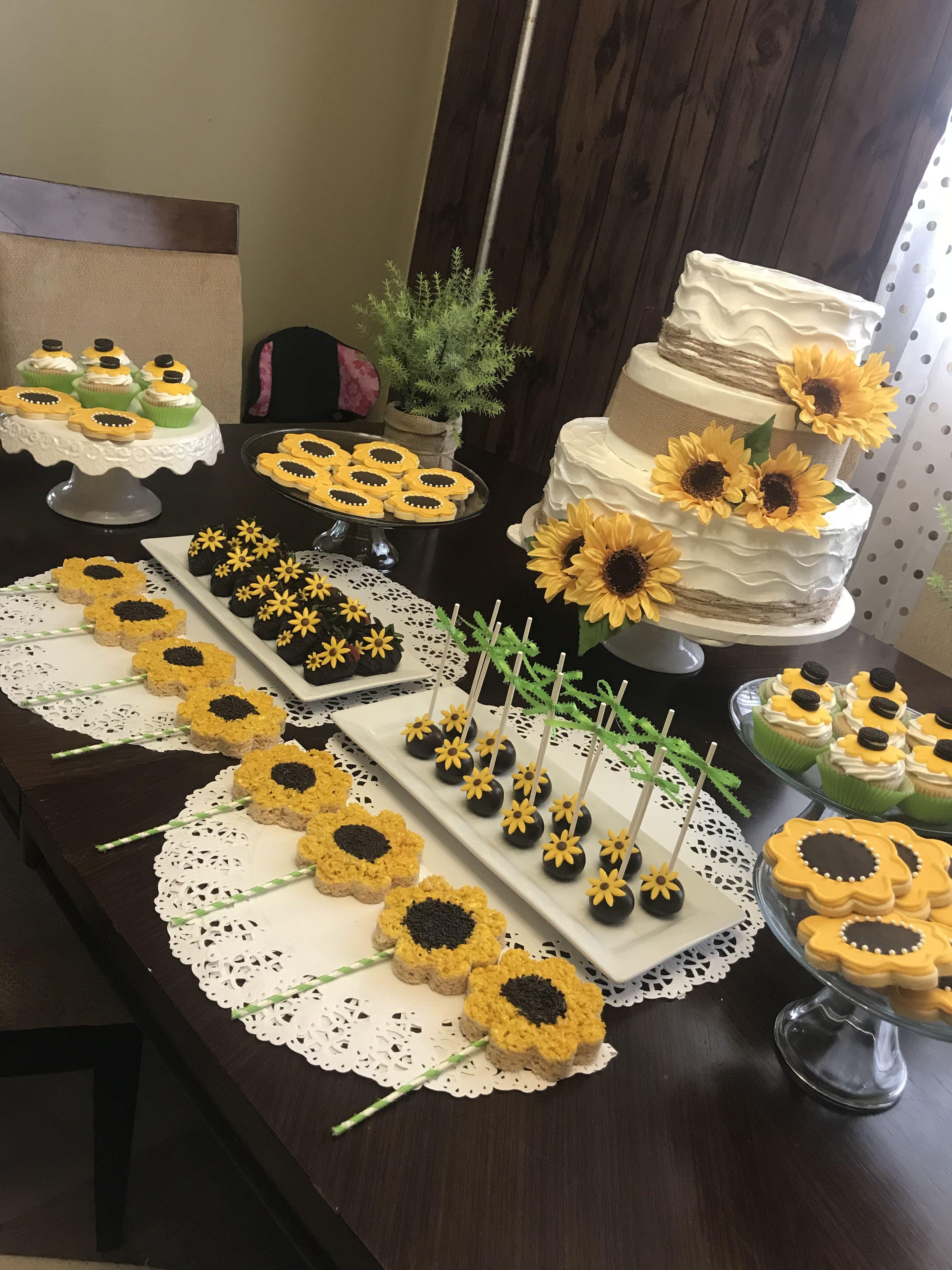 Sunflower table dessert party ideas Sunflower themed