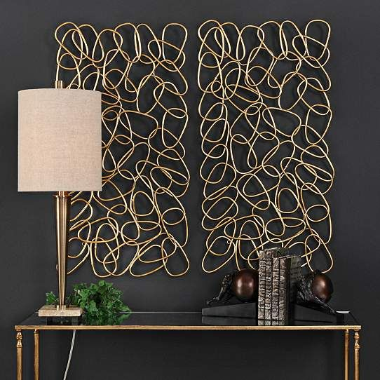 Uttermost In The Loop 37 1 2 High Metal Wall Art Set Of 2 35g80 Lamps Plus Metal Wall Panel Gold Wall Art Uttermost Wall Art