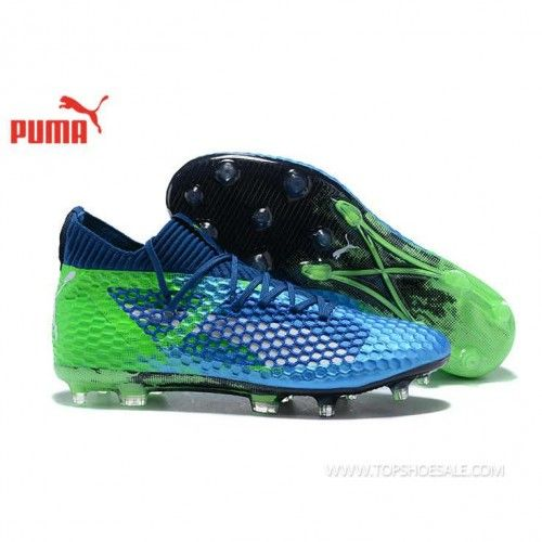 e138627ddfc5 2018 FIFA World Cup Puma Future 18.1 Netfit Low hyFG 104488-04 Deep Lagoon/Puma  White/Green Gecko Football shoes