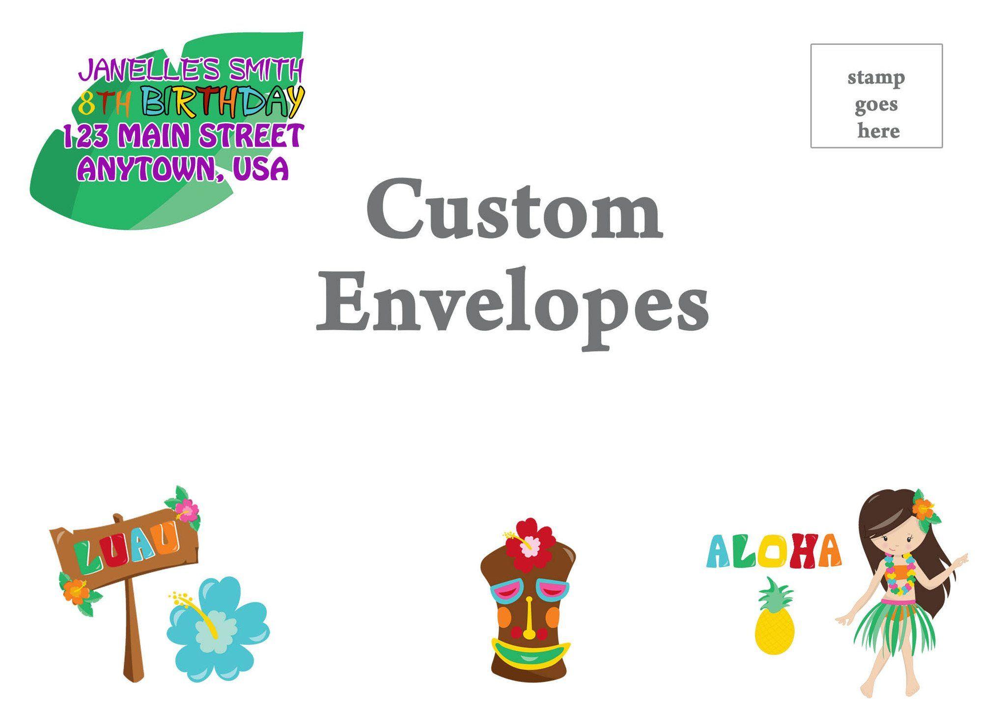 Luau Envelopes Custom printed envelopes, Custom