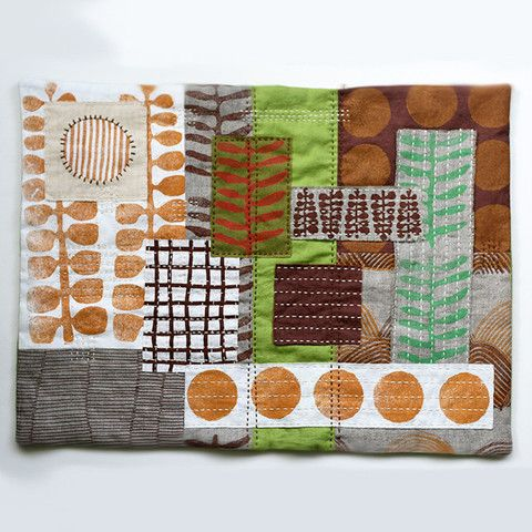"""Untitled No. 3 - hand-embroidered textile collage by Jen Hewett. Block printed and silkscreened fabric. 14.5 x 19."""""""