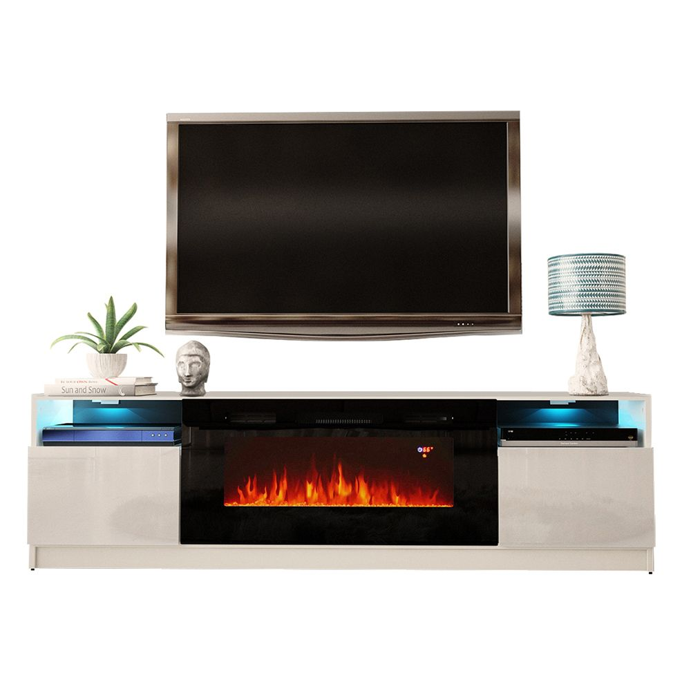York 02 White Tv Stand In 2020 Electric Fireplace Tv Stand