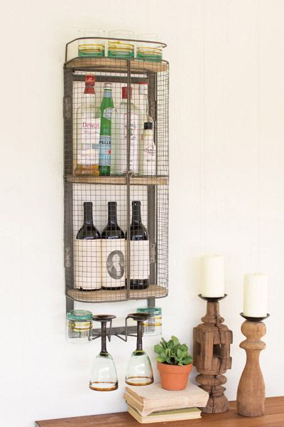 Enchanted Cottage Shop Wine Bar Storage Cabinet   Wine And Spirits Bar Wall  Mounted Storage Cabinet. With A Glass Rack Below, This Functional Wall  Piece Is ...