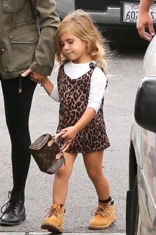 5f4d5ce85c64 Penelope Disick wearing Louis Vuitton Monogram Canvas Mini Hl Speedy Bag  and Timberland Kids 6 Premium Waterproof Boot Core