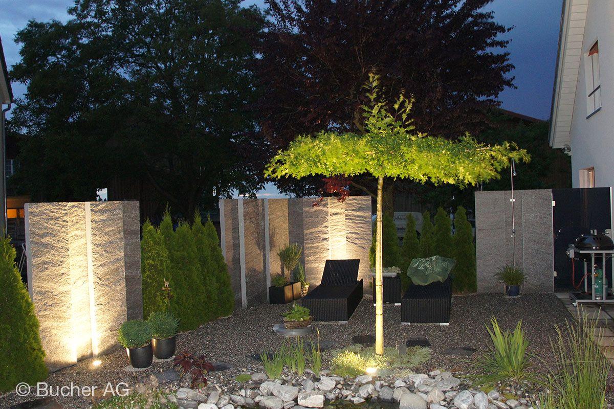 Stylischer Sitzplatz Im Garten Mit Stelen Gefunden Bei Google