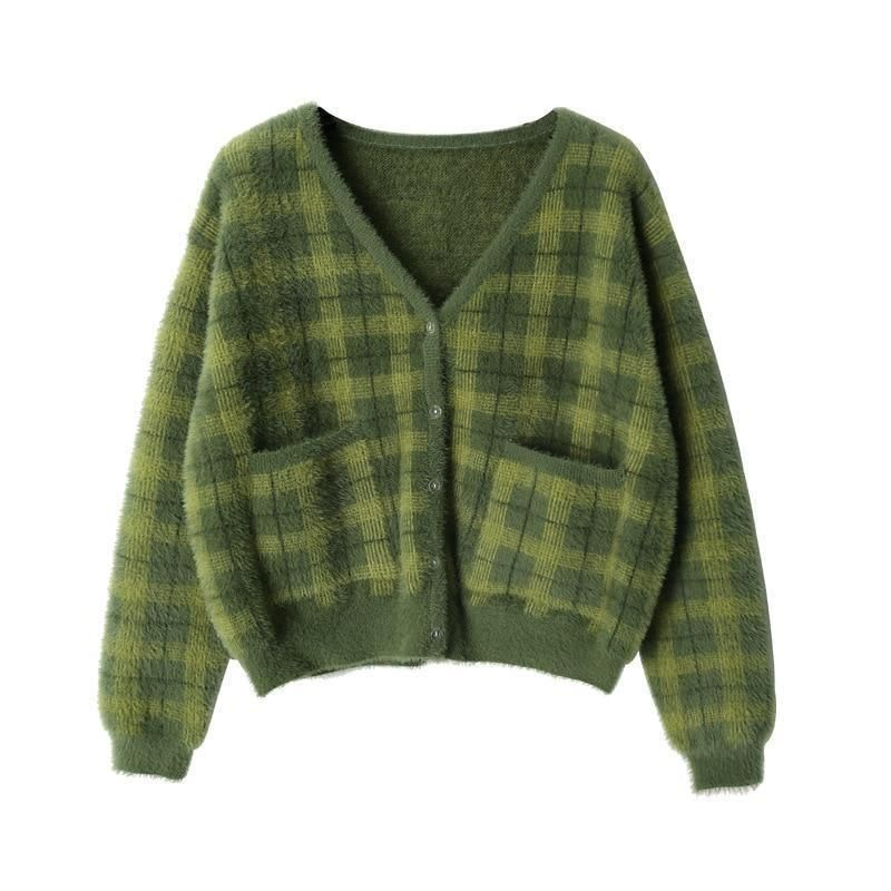 INDIE GIRL GREEN CROPPED SWEATER