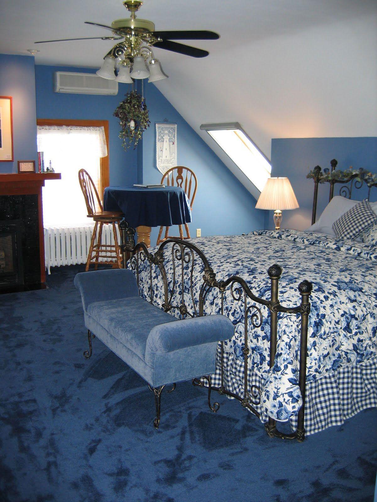 Ceiling Fan Attic Bedroom   Blue carpet bedroom, Dark blue ...