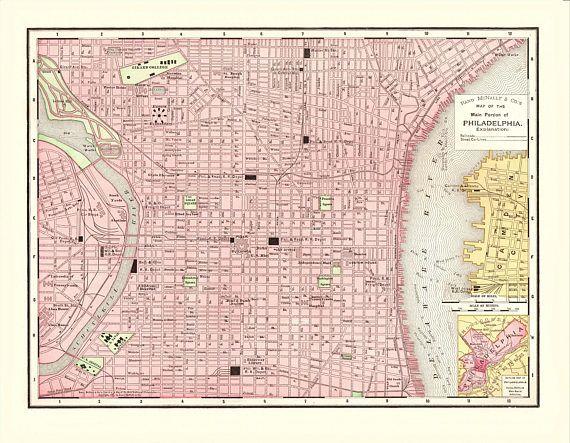 Antique Philadelphia Pennsylvania City Map - 1897 Reproduction Print ...