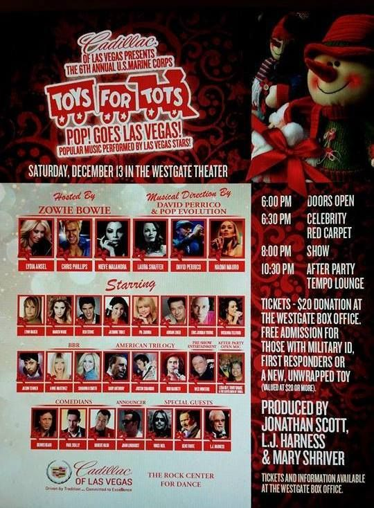 Westgate Las Vegas Resort Casino Hosts 6th Annual U S Marine Corps Toys For Tots Benefit Concert Featuring All Star Local Entertainment Presented By Cadill Toys For Tots Vegas Star