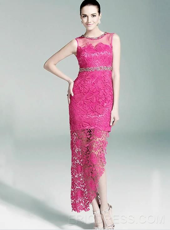 Elegant Jewel Lace Asymmetry Mother Dress Mother of the Bride ...