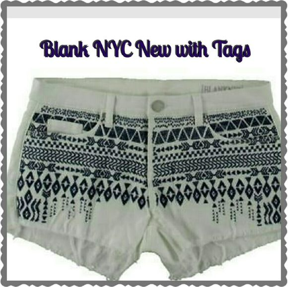4 for $20!Blank NYC Shorts NWT Awesome embroidered Love these boho flair white Denim Shorts by Blank NYC  in waist size 28. Blue embroidery on the front,  slight fringe on the bottom.  Sure to be a summer closet fav! This is one of the pick 4 for $20 items! Blank NYC  Shorts Jean Shorts