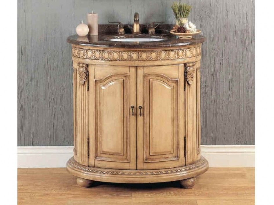 Oval Antique White Wooden Bathroom Vanity with Single Sink ...