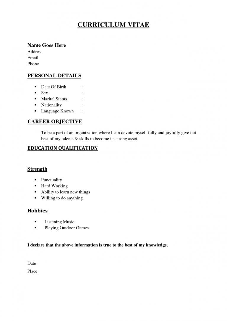 Simple Sample Of Resume Format Basic resume, Basic