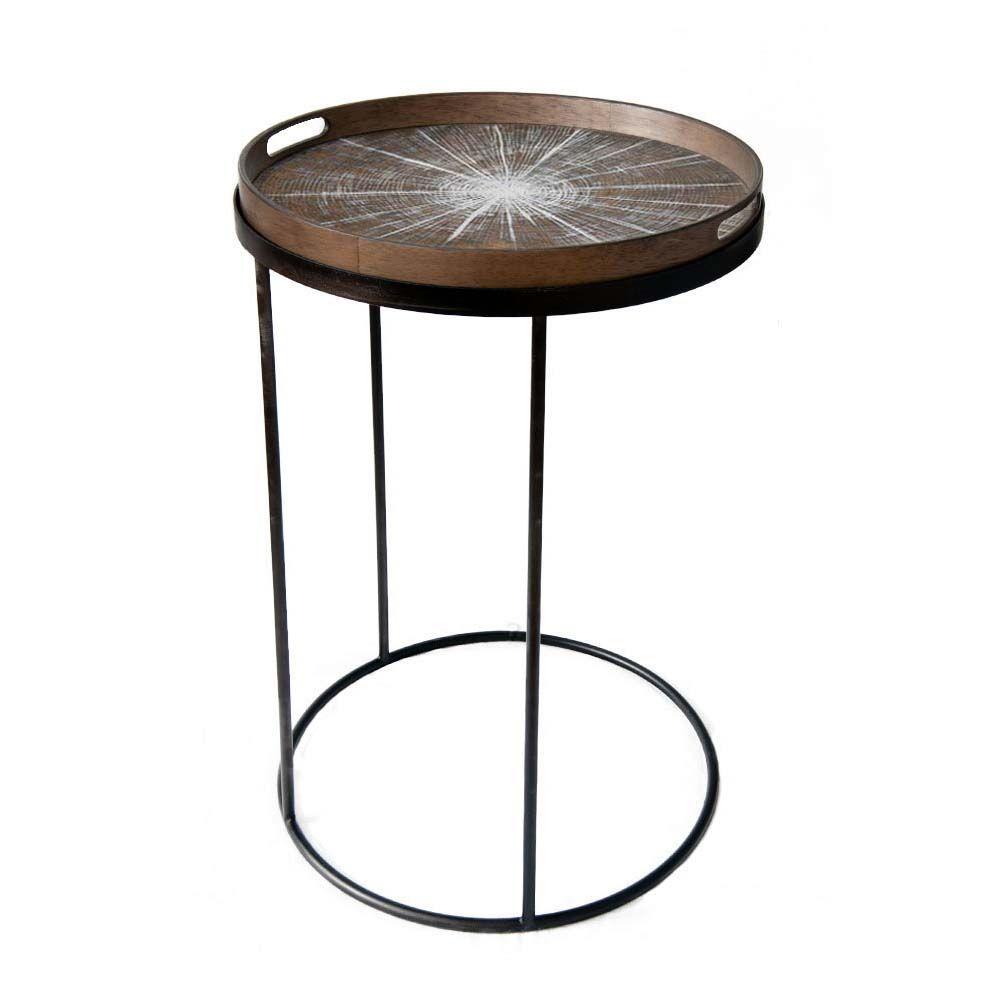 Notre Monde Tabletttisch Rund Marokko Metall Glas 2er Set Tabletttisch Kleiner Beistelltisch Und Holztablett