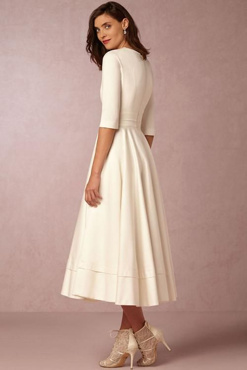 Half Sleeve V Neck Fit Flare Dress Svatebni Saty Terka