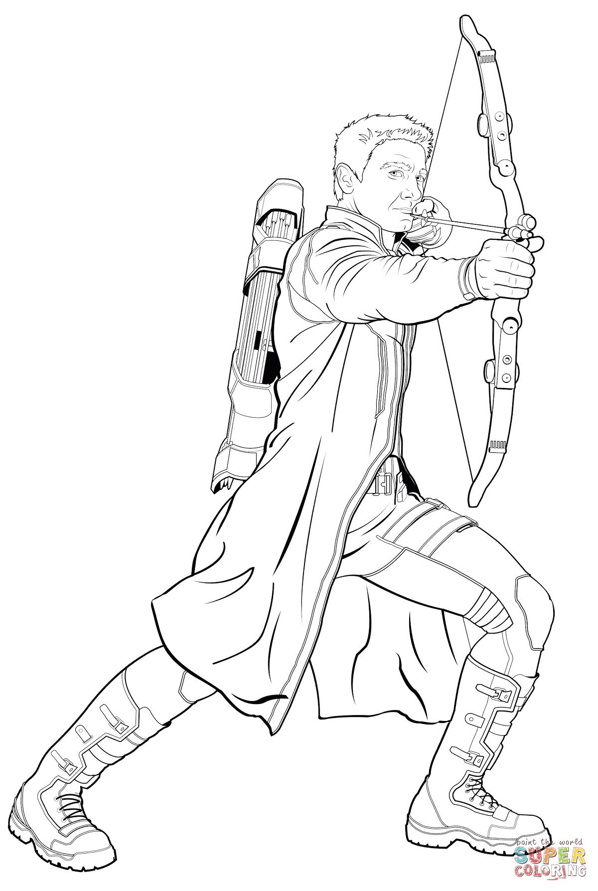 Dibujo de Avengers Hawkeye para colorear Dibujos para
