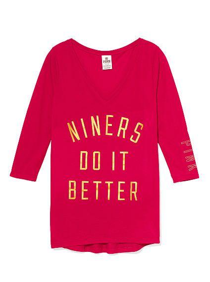 40c992a9e San Francisco 49ers V-neck Tee PINK-Victoria s Secret PINK NFL Collection!   49ers