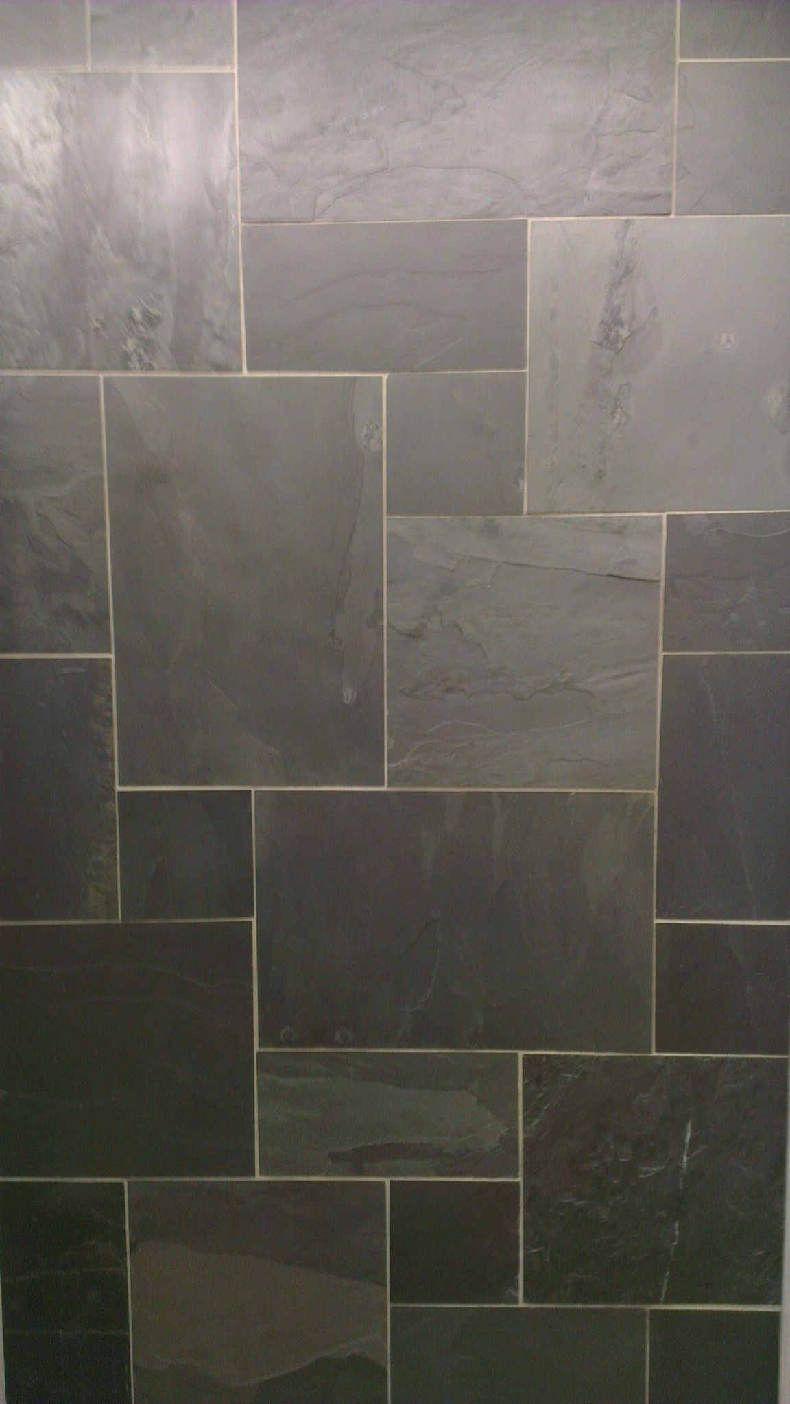Black Riven Slate Floor Tile Modular Mix Home Remodeling