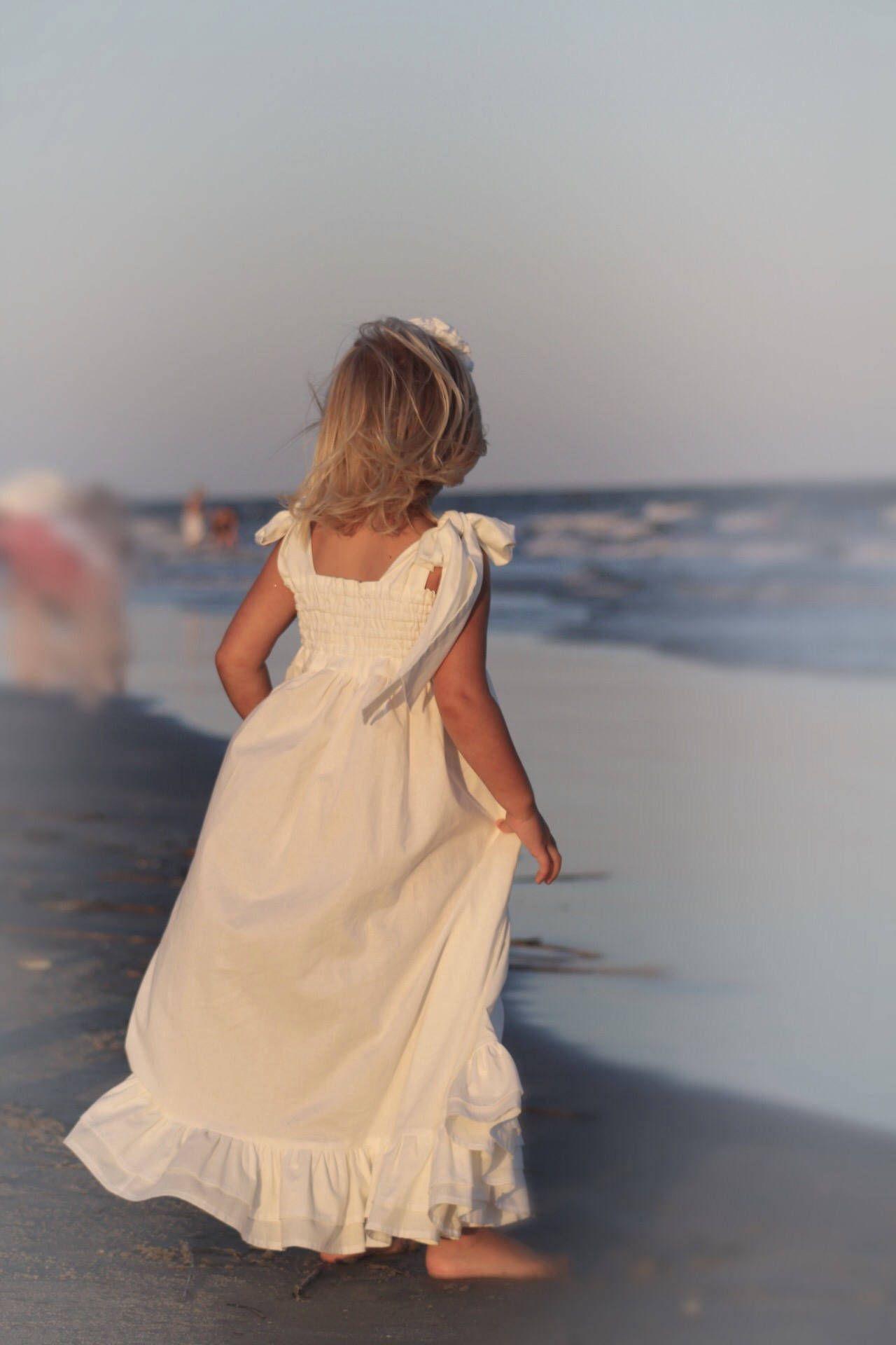 Beach flower girl dress toddler maxi dress white flower girl