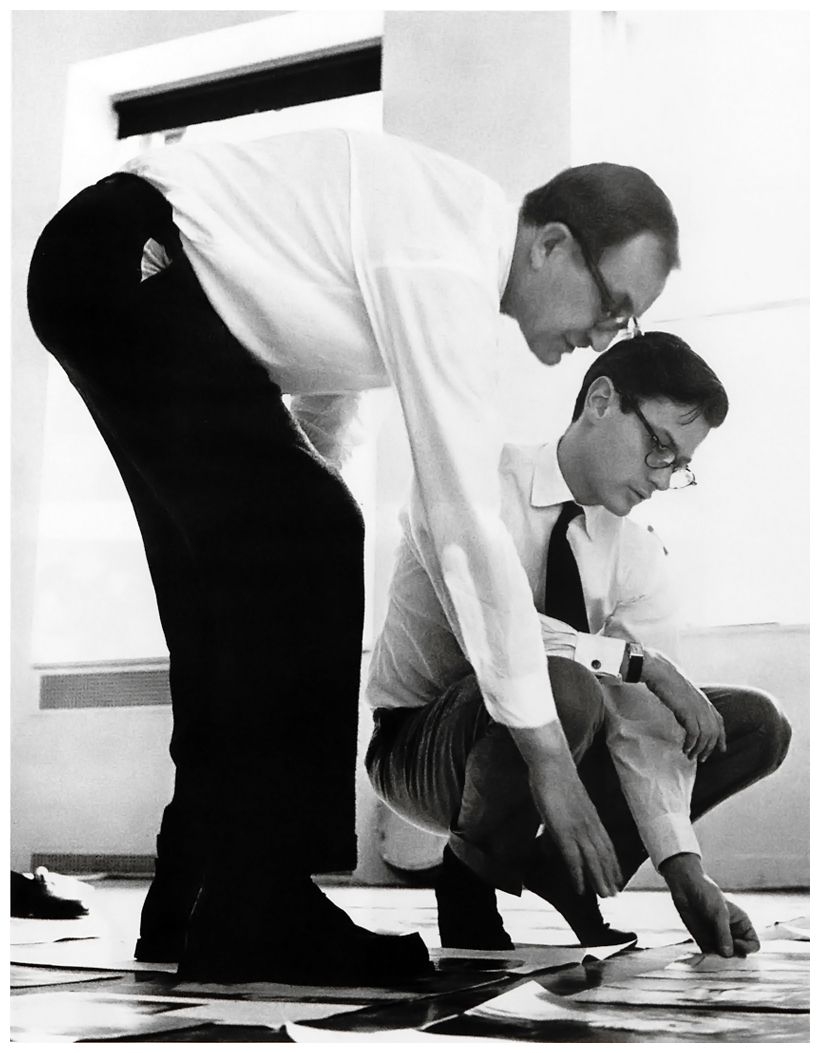 Alexey Brodovitch and Richard Avedon arranging the sequence of pages for Avedon's first book.