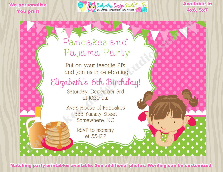 Pancakes and Pajamas Invitation Pancake party pancakes and pj\'s ...