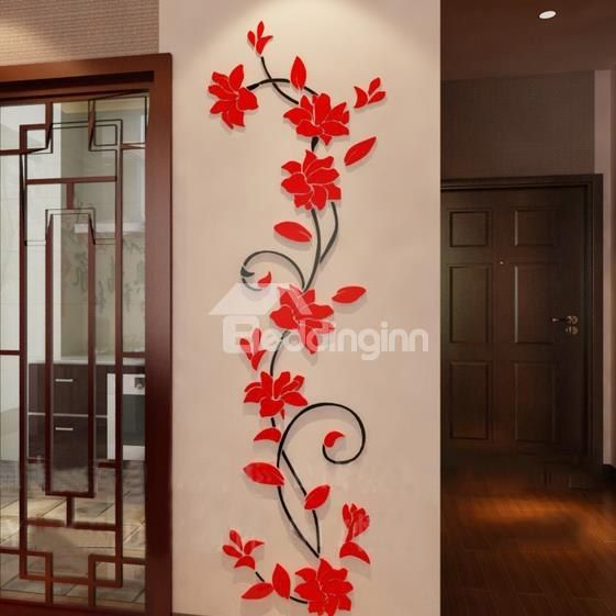 Beautiful Jasmine Flower Crystal Acrylic 3d Wall Stickers Flower Wall Decals Wall Paint Designs Wall Stickers