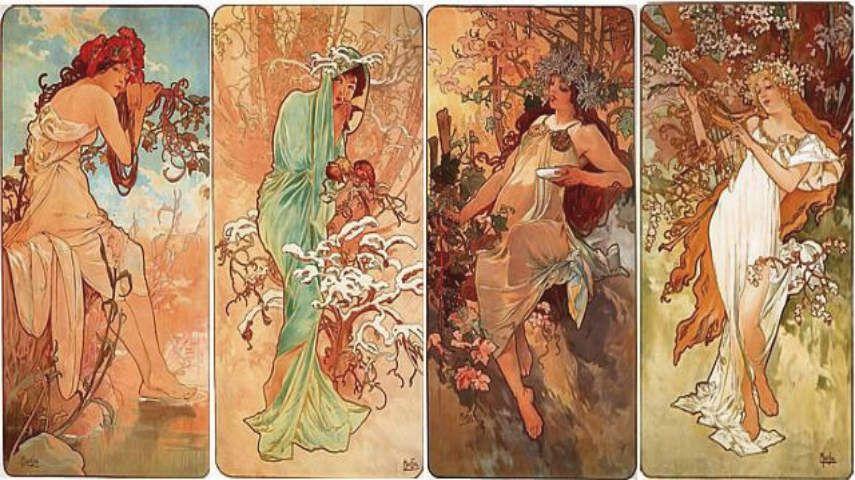 Mucha Seasons Art Noveau Beautiful Flower Painting 8x10 Real Canvas Print New
