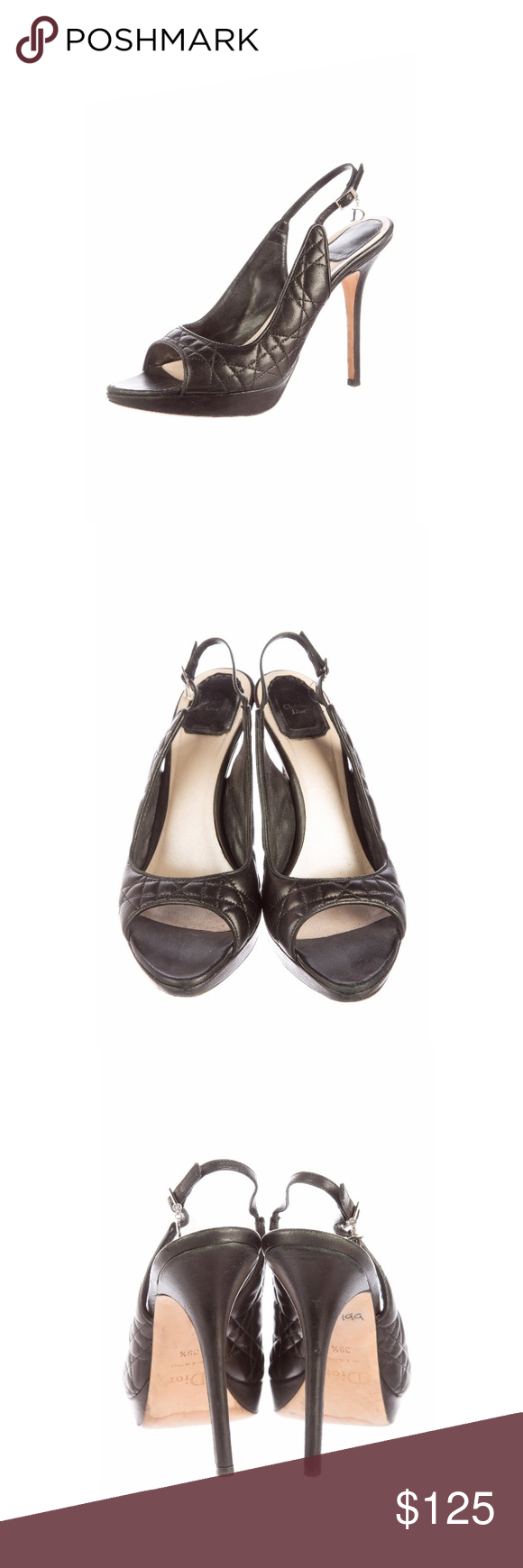 77c71e89dfc58c Christian Dior slingback pumps size 9.5 Black Cannage leather Christian Dior  slingback pumps with peep toes