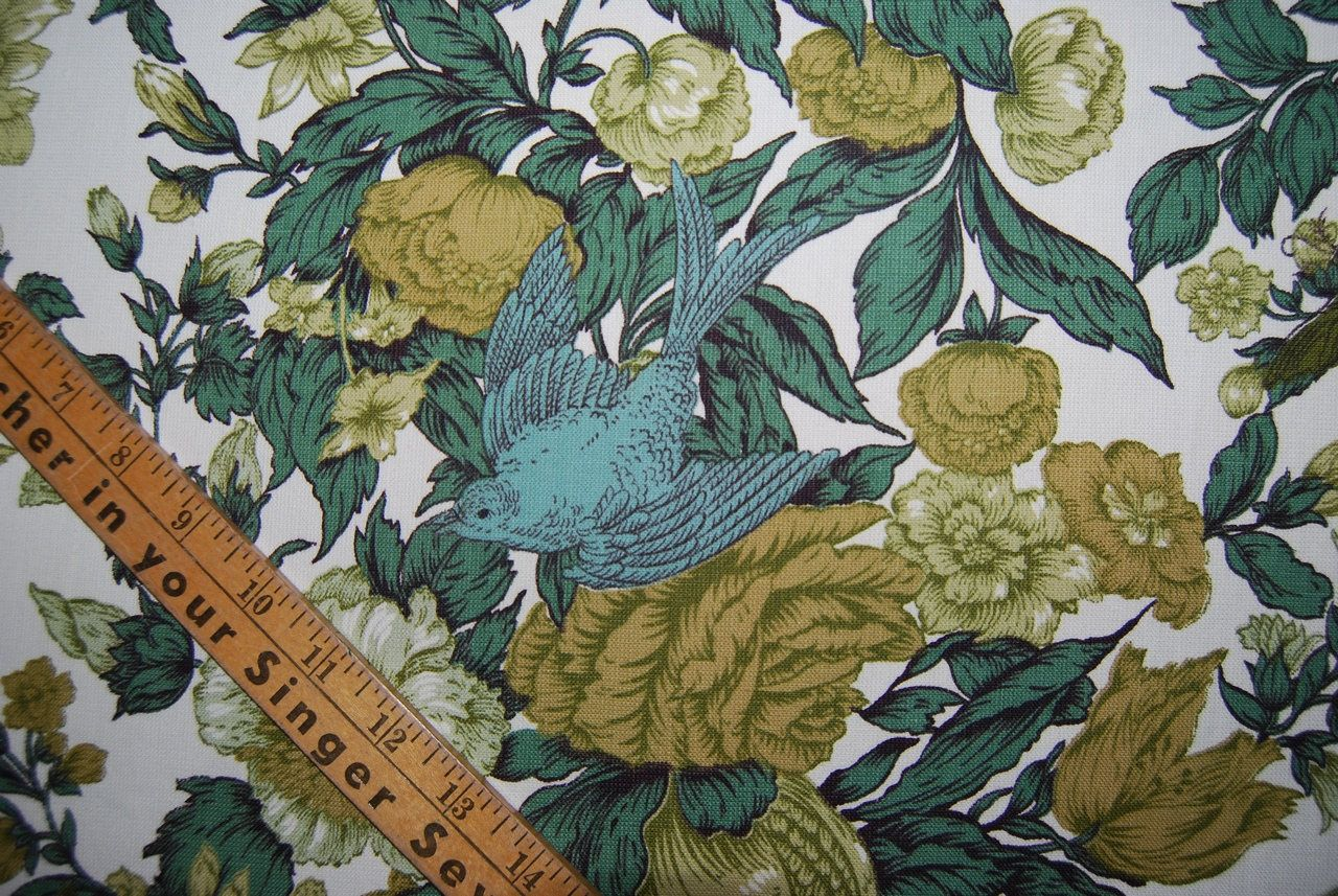 1940s Vintage Fabric Drapery Bird Upholstery Cutter Fabric By