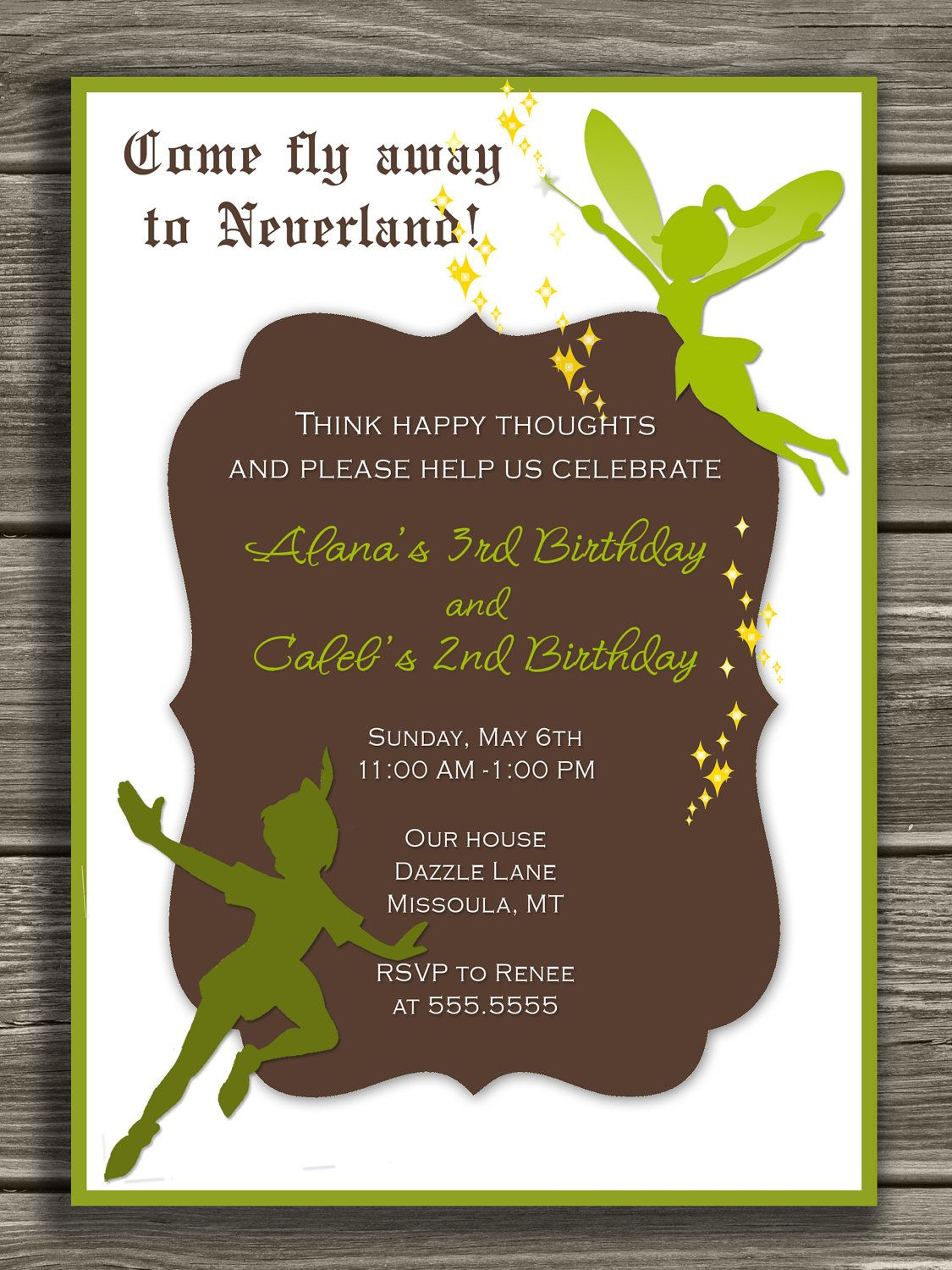 Peter Pan and Tinkerbell Invitation - FREE thank you card included ...