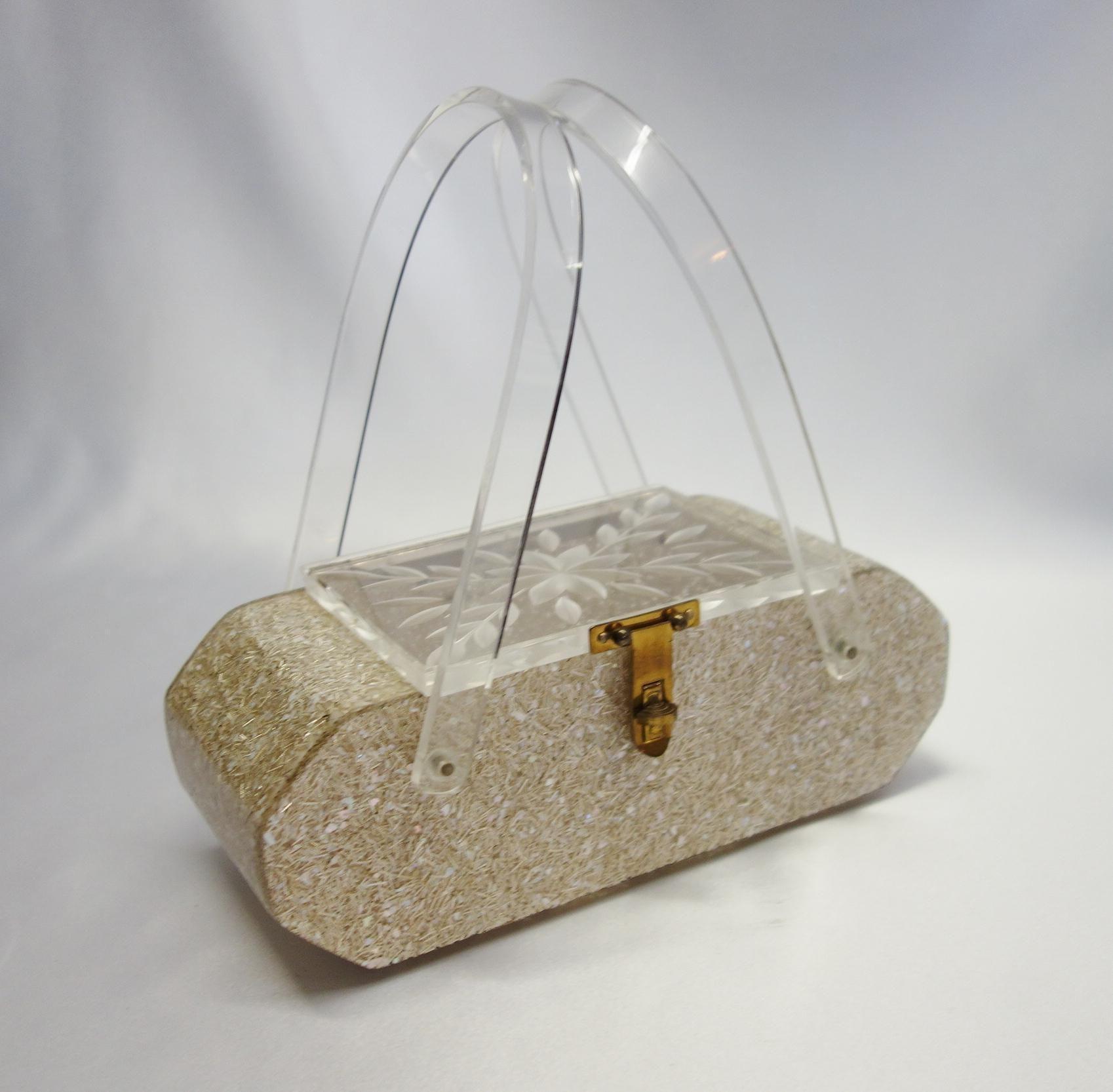 7c15f0c559bb Vintage Gold Confetti Lucite Purse by Florida Handbags of Miami ...
