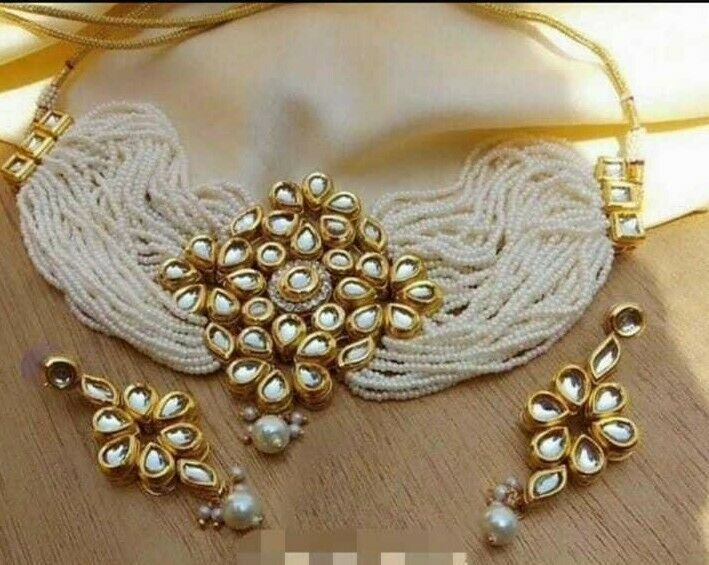 Indian Gold Plated White Kundan Choker Necklace Earrings Women Bollywood Jewelr