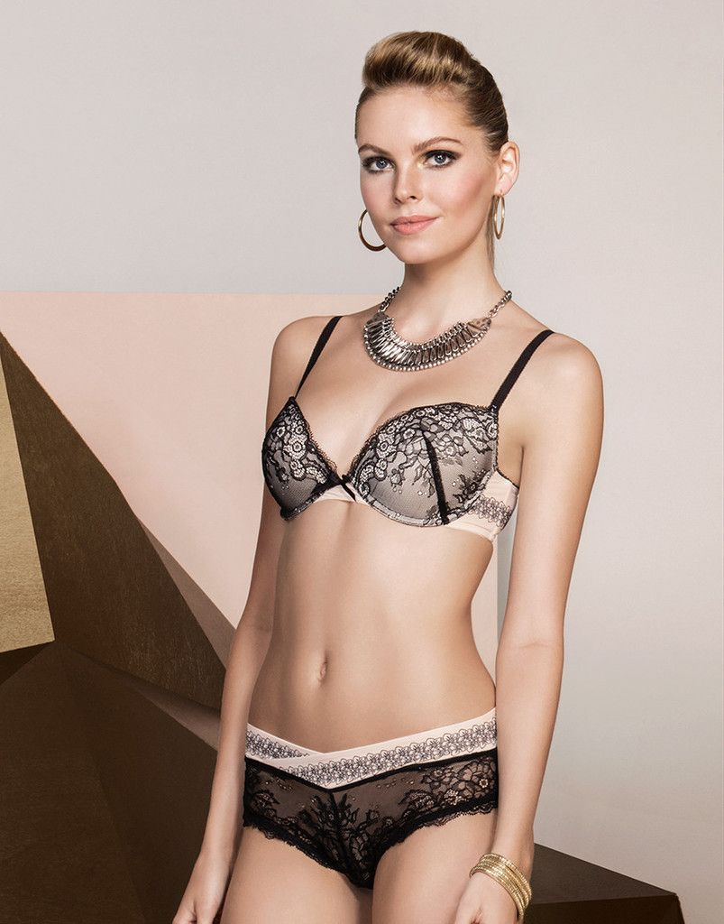 49.95 Elegant luxury romantic lace bra set with soft padding. Sheer lace  panty. Cup B 56d0128c77ff