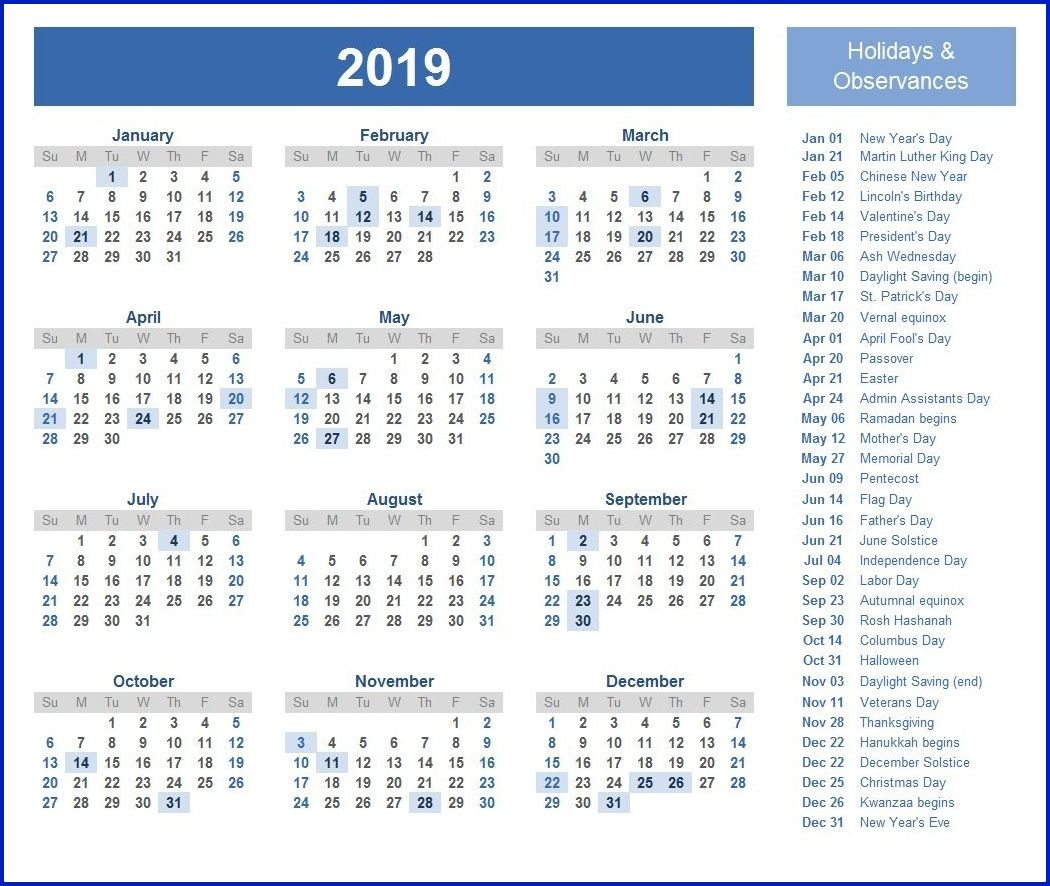 federal holiday calendar 2019  calendar2019