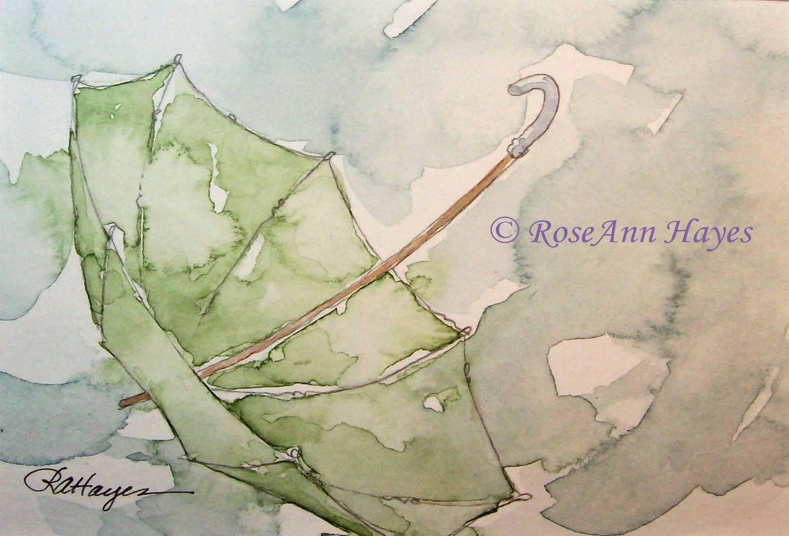 Watercolor Paintings by RoseAnn Hayes: Umbrella in the Rain