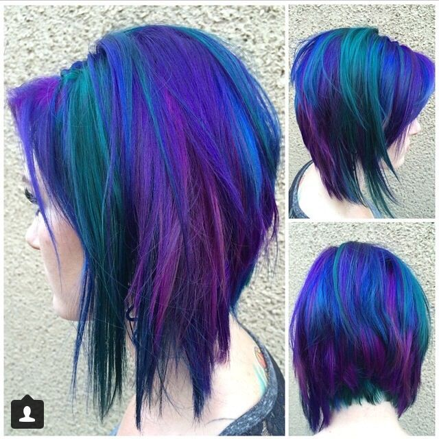 Purple Blue And Green Hair Awesome Cool Hair Color Hair Styles Purple And Green Hair