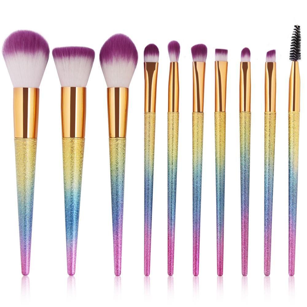 Fairy Shimmer Rainbow Metallic Makeup Brush Set 10 pcs