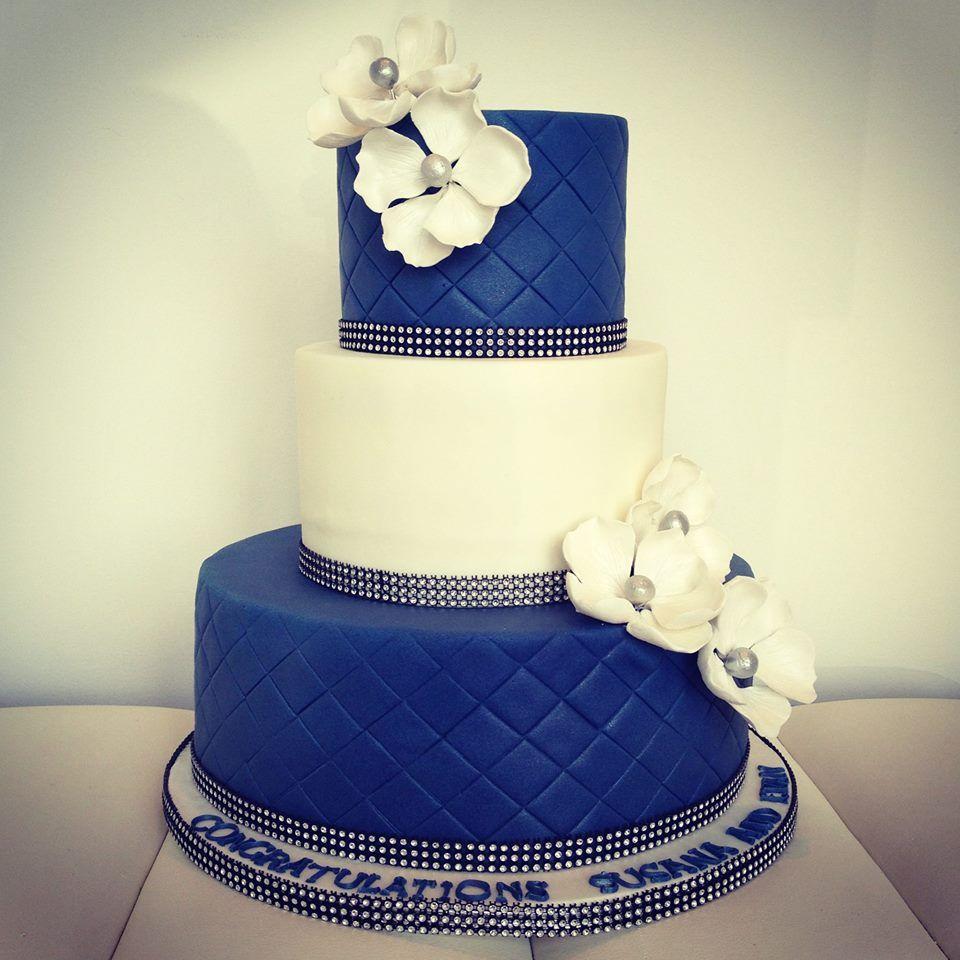 Blue & White Wedding Cake | Cakes | Pinterest | White wedding cakes ...