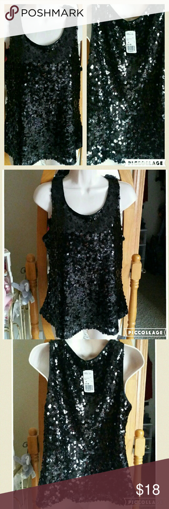 SEQUENCE BLACK TOP BRAND NEW WITH TAG.   100% POLYESTER   CHECK OUT MY OTHER LISTINGS YOU CAN GET DISCOUNT WHEN YOU BUY BUNDLE. HAPPY SHOPPING! ! ! Forever 21 Tops Blouses