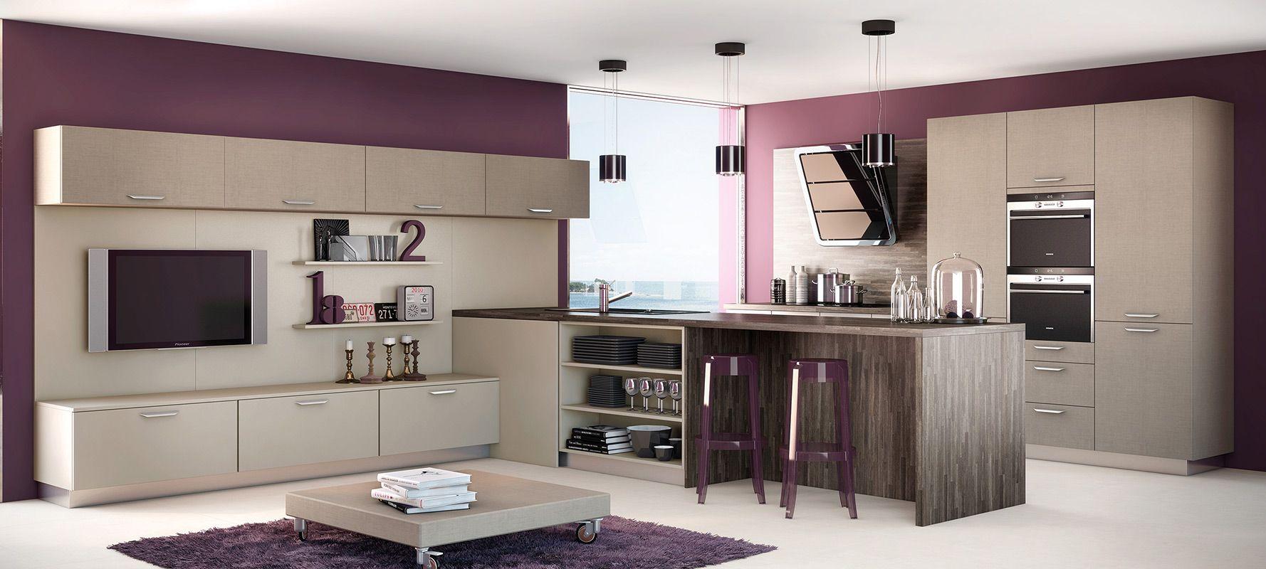 Belle Couleur Cuisine Art Et Bois Agencement De Cuisine  # Meuble Tv Home Cinema Integre Leclerc