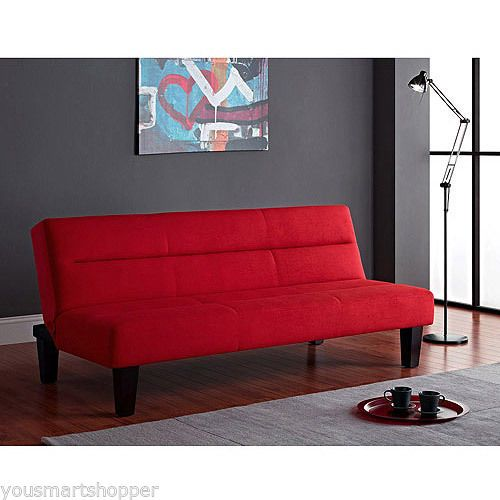 Red Futon Microfiber Sleeper Sofa Bed Couch Lounger Daybed Folding