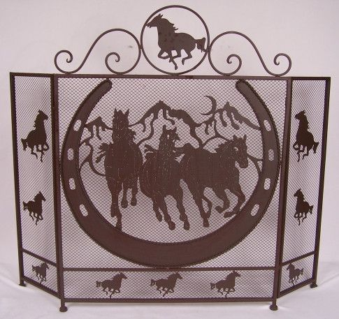 Western Horseshoe And Horse Fireplace Screen Home Style