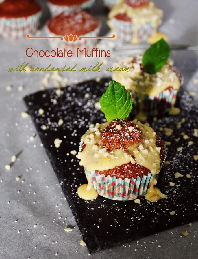 Muffins de Chocolate com creme de Leite Condensado | Chocolate Muffins with Condensed Milk cream