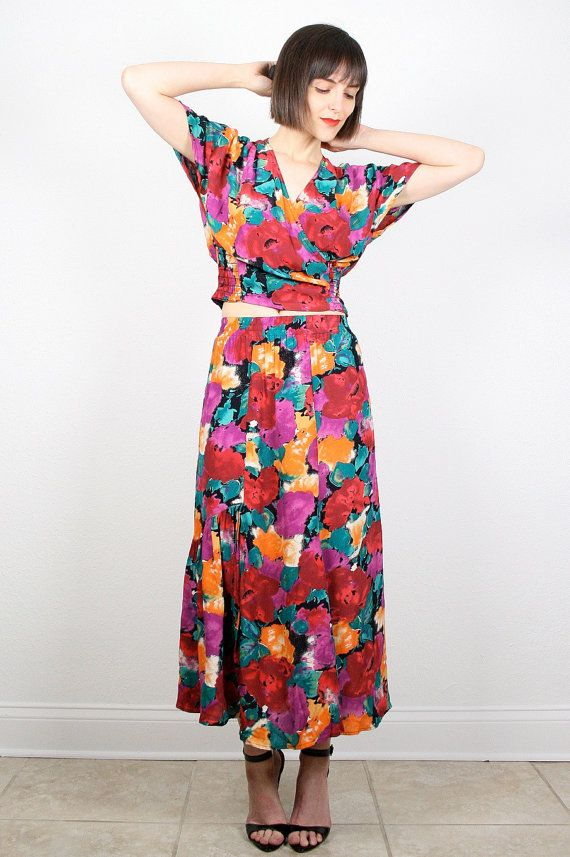 0110c75ff7 Vintage 80s Two Piece Set Matching Midi Skirt and Crop Top Draped V Neck  Boho Floral Print Matching Outfit Ruffle Smocked Set XS S Small M #vintage  #etsy ...